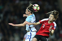 Jodie Taylor (Arsenal) of England Women and Katharina Naschenweng (Sturm Graz) of Austria Women in an aerial battle during the Women's Friendly match between England Women and Austria Women at stadium:mk, Milton Keynes, England on 10 April 2017. Photo by PRiME Media Images / David Horn.