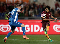 Calcio, Serie A: Roma, stadio Olimpico, 1 aprile, 2017.<br /> Roma's Mohamed Salah (r) in action with Empoli's Uros Cosic (l) during the Italian Serie A football match between Roma and Empoli at Olimpico stadium, April 1, 2017<br /> UPDATE IMAGES PRESS/Isabella Bonotto