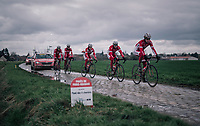 Team Cofidis during their parcours recon of the 116th Paris-Roubaix 2018, 3 days prior to the race