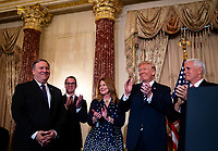 Mike Pompeo, U.S. secretary of state, is applauded for after being sworn in by Vice President Mike Pence, as U.S. President Donald J. Trump, Susan Pompeo, and Nick Pompeo look on, at the State Department, in Washington, D.C., U.S., on Wednesday, May 2, 2018. <br /> Credit: Al Drago / Pool via CNP /MediaPunch