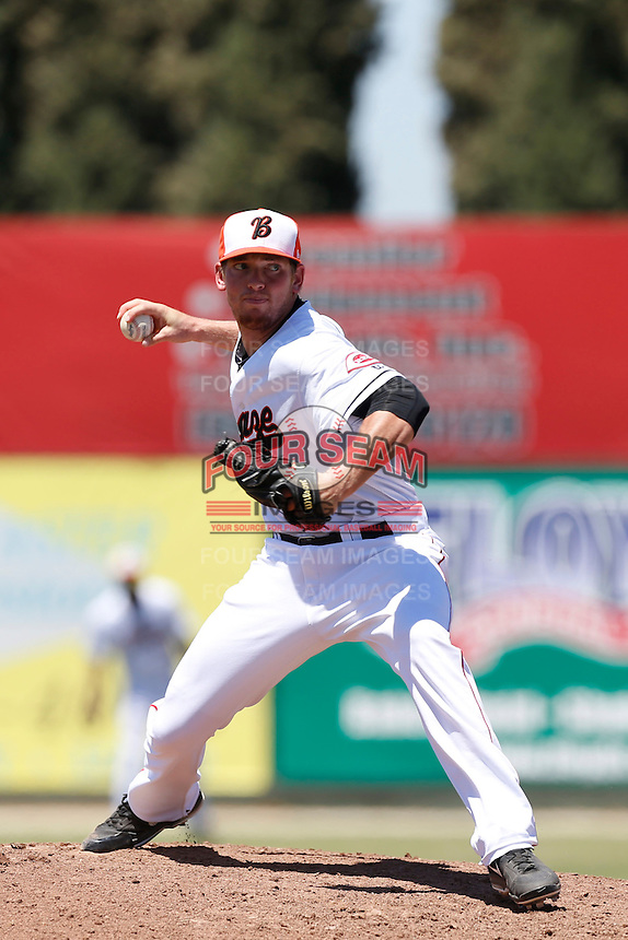 Brooks Pinckard #17 of the Bakersfield Blaze pitches against the San Jose Giants at Sam Lynn Ballpark on August 4, 2013 in Bakersfield, California. San Jose defeated Bakersfield, 7-4. (Larry Goren/Four Seam Images)