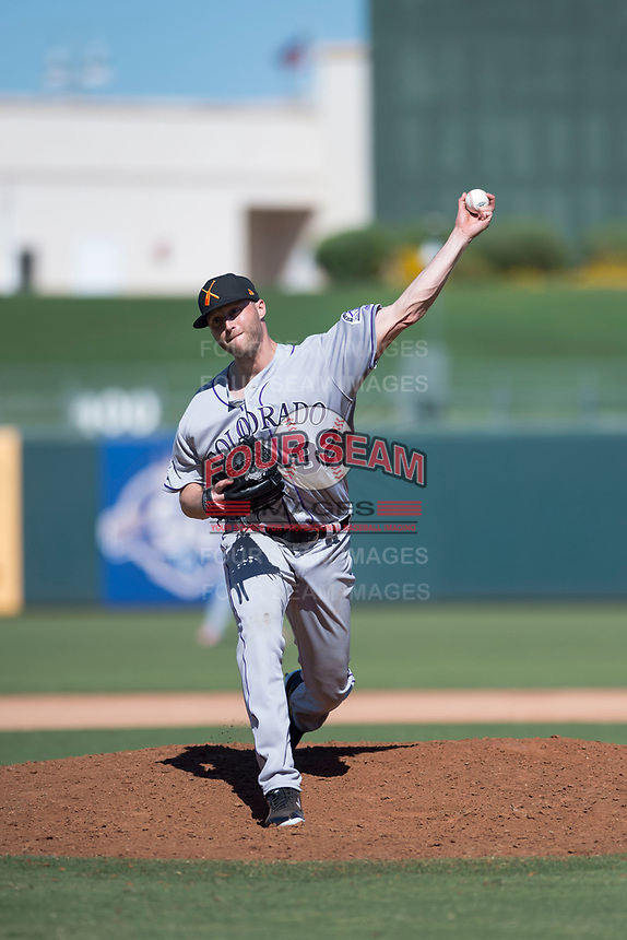 Salt River Rafters relief pitcher Mitch Horacek (32), of the Colorado Rockies organization, delivers a pitch during an Arizona Fall League game against the Surprise Saguaros on October 9, 2018 at Surprise Stadium in Surprise, Arizona. The Rafters defeated the Saguaros 10-8. (Zachary Lucy/Four Seam Images)