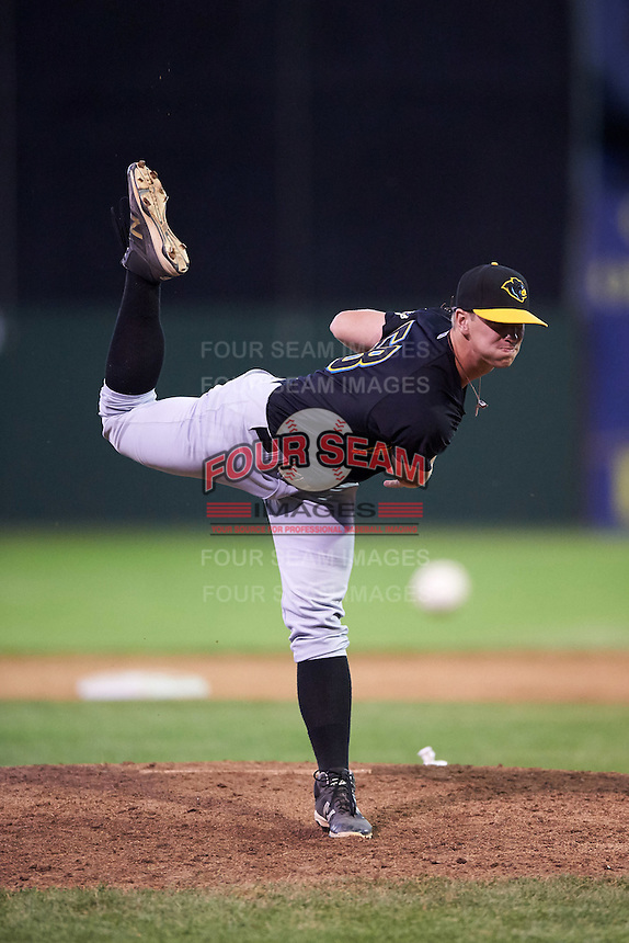 West Virginia Black Bears relief pitcher Neil Kozikowski (58) during a game against the Batavia Muckdogs on June 30, 2016 at Dwyer Stadium in Batavia, New York.  Batavia defeated West Virginia 4-3.  (Mike Janes/Four Seam Images)
