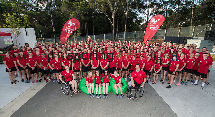 Team Wales at the Athletes Village in Gold Coast.<br /> <br /> *This image must be credited to Ian Cook Sportingwales and can only be used in conjunction with this event only*<br /> <br /> 21st Commonwealth Games - Wales Welcoming ceremony - Athletes Village - 03/04/2018 - Gold Coast City - Australia