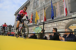 Taylor Phinney (USA) EF Education First at the team presentation in Antwerp before the start of the 2019 Ronde Van Vlaanderen 270km from Antwerp to Oudenaarde, Belgium. 7th April 2019.<br /> Picture: Eoin Clarke | Cyclefile<br /> <br /> All photos usage must carry mandatory copyright credit (&copy; Cyclefile | Eoin Clarke)