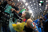 (Center) Fabrizia D'Ottavio of Italian group greets friends and fans after 2008 European Championships at Torino, Italy on June 7, 2008.  Photo by Tom Theobald.