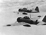 Mitsubishi A6M Zero Fighters heading to Chongqing during the Second Sino-Japanese War. (Photo by Kingendai PhotoLibrary/AFLO)
