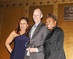Tamara Tunie - Christopher Poulton - Deborah Koenigsberger - is presented with Corporate Responsibility Award to Christopher - Hearts of Gold All That Glitters Ball celebrating 23 years of support to New York City's homeless mothers and their children on November 1, 2017 at Capitale, New York City, New York.  (Photo by Sue Coflin/Max Photo)
