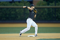 Wake Forest Demon Deacons second baseman Jake Mueller (6) makes a throw to first base against the Virginia Cavaliers at David F. Couch Ballpark on May 18, 2018 in  Winston-Salem, North Carolina.  The Cavaliers defeated the Demon Deacons 15-3.  (Brian Westerholt/Four Seam Images)
