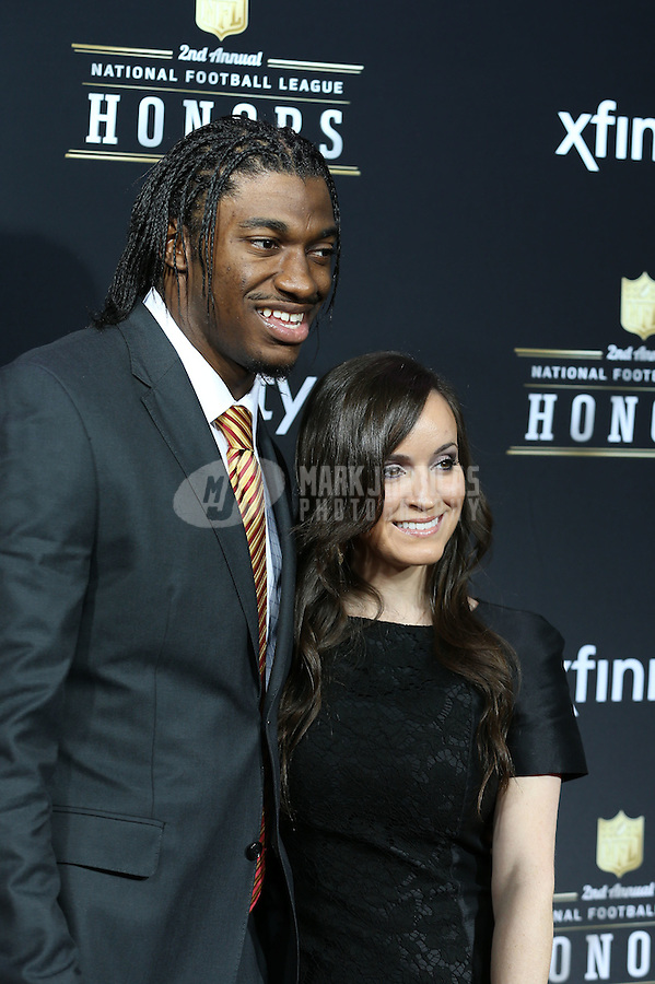 Feb. 2, 2013; New Orleans, LA, USA: Washington Redskins quarterback Robert Griffin III (left) with girlfriend Rebecca Liddicoat on the red carpet prior to the Super Bowl XLVII NFL Honors award show at Mahalia Jackson Theater. Mandatory Credit: Mark J. Rebilas-USA TODAY Sports