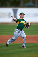 Siena Saints third baseman Jordan Folgers (12) during a game against the UCF Knights on February 21, 2016 at Jay Bergman Field in Orlando, Florida.  UCF defeated Siena 11-2.  (Mike Janes/Four Seam Images)