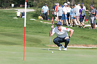 Ricardo Gouveia (POR) lines up his putt on the 17th hole during second round at the Omega European Masters, Golf Club Crans-sur-Sierre, Crans-Montana, Valais, Switzerland. 30/08/19.<br /> Picture Stefano DiMaria / Golffile.ie<br /> <br /> All photo usage must carry mandatory copyright credit (© Golffile | Stefano DiMaria)