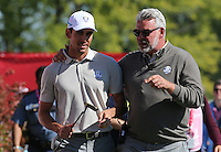 Darren Clarke, Team Europe Ryder Cup Captain,  congratulates Rafa Cabrera Bello (Team Europe) for his efforts during the Saturday Morning Foursomes, at the 41st Ryder Cup 2016, at Hazeltine National Golf Club, Minnesota, USA.  01View of the 10th2016. Picture: David Lloyd | Golffile.