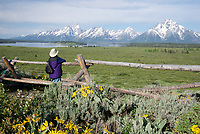 Gazing at the Grand Tetons and Jackson Lake from Willow Flats in Grand Teton National Park