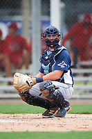 GCL Rays catcher David Parrett (38) warms up the pitcher in between innings during the second game of a doubleheader against the GCL Red Sox on August 9, 2016 at JetBlue Park in Fort Myers, Florida.  GCL Rays defeated GCL Red Sox 9-1.  (Mike Janes/Four Seam Images)
