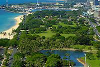 View of Ala Moana beach park and Ala Moana blvd.