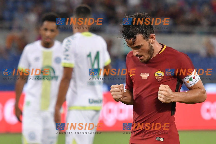 Esultanza gol Alessandro Florenzi <br /> Roma 01-09-2017 Stadio Olimpico Football Friendly match AS Roma - Chapecoense Foto Andrea Staccioli / Insidefoto