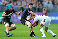 Matt Banahan of Bath Rugby takes on the Brive defence. European Rugby Challenge Cup Quarter Final, between Bath Rugby and CA Brive on April 1, 2017 at the Recreation Ground in Bath, England. Photo by: Patrick Khachfe / Onside Images