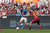 Fabian Ruiz of Napoli  during the  italian serie a soccer match, AS Roma -  SSC Napoli       at  the Stadio Olimpico in Rome  Italy , March 31, 2019
