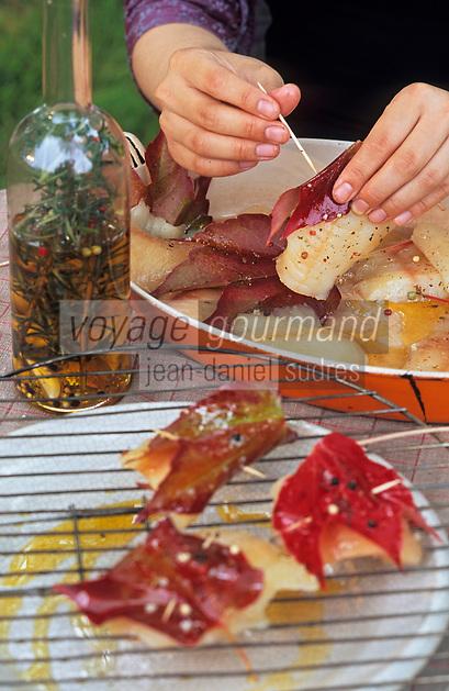 Europe/France/Gastronomie générale: Repas en plein air - Préparation des filets de brochets marinés et grillés en feuilles de vigne
