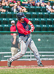 8 July 2014: Lowell Spinners third baseman Jordan Betts in action against the Vermont Lake Monsters at Centennial Field in Burlington, Vermont. The Lake Monsters rallied in the 9th inning to defeat the Spinners 5-4 in NY Penn League action. Mandatory Credit: Ed Wolfstein Photo *** RAW Image File Available ****