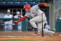 Springfield Cardinals Luke Voit (18) during the game against the Northwest Arkansas Naturals at Arvest Ballpark on May 3, 2016 in Springdale, Arkansas.  Springfield won 5-1.  (Dennis Hubbard/Four Seam Images)