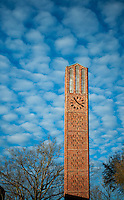Chapel bell tower--winter afternoon with clouds (photo by Megan Bean / © Mississippi State University)