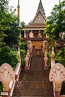 Staircase, Wat Phnom, Phnom Penh, Cambodia.