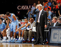 North Carolina head coach Roy Williams reacts to a play during the game against Virginia at the John Paul Jones arena in Charlottesville, Va. Virginia defeated North Carolina 61-52.