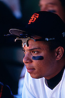 SAN FRANCISCO, CA - Portrait of Darren Lewis of the San Francisco Giants in the dugout during a game at Candlestick Park in San Francisco, California in 1993. Photo by Brad Mangin