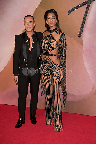 Julian McDonald, Nicole Scherzinger<br /> The Fashion Awards 2016 , arrivals at the Royal Albert Hall, London, England on December 05 2016.<br /> CAP/PL<br /> ©Phil Loftus/Capital Pictures /MediaPunch ***NORTH AND SOUTH AMERICAS ONLY***