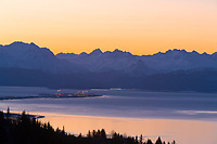 Sunrise over the Kenai mountains, Kachemak bay and the Homer spit, southcentral, Alaska.