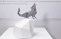 Surface to Structure origami exhibition at Cooper Union, New York. Gallery view. Timber Wolf designed and folded by Paul Frasco 2014.