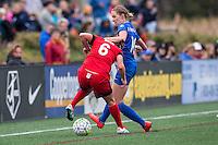 Allston, MA - Sunday, May 1, 2016:  Portland Thorns FC midfielder Meleana Shim (6) and Boston Breakers midfielder Louise Schillgard (10) in a match at Jordan Field, Harvard University.