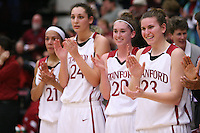 31 January 2008: Stanford Cardinal (L-R) Rosalyn Gold-Onwude, Ashley Cimino, Hannah Donaghe, and Jeanette Pohlen during Stanford's 77-51 win against the USC Trojans at Maples Pavilion in Stanford, CA.