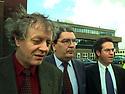 Archive Picture. BELFAST,NORTHERN IRELAND: SDLP key figures Sean Farren, John Hume and Alex Attwood exits Block B Castle Buildings, Stormont, April 9th 1998 Photo/Paul McErlane Photography