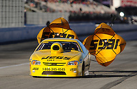 Nov 13, 2010; Pomona, CA, USA; NHRA pro stock driver Jeg Coughlin during qualifying for the Auto Club Finals at Auto Club Raceway at Pomona. Mandatory Credit: Mark J. Rebilas-