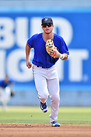 Asheville Tourists second baseman Taylor Snyder (28) during a game against the Rome Braves at McCormick Field on September 3, 2018 in Asheville, North Carolina. The Tourists defeated the Braves 5-4. (Tony Farlow/Four Seam Images)