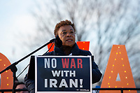 United States Representative Barbara Lee (Democrat of California) speaks to demonstrators outside the United States Capitol in Washington D.C., U.S., on Thursday, January 9, 2020, to oppose a war with Iran as the United States House of Representatives convenes to vote on a war powers resolution that would mandate United States President Donald J. Trump receive congressional authorization for any future military action taken toward Iran.<br /> <br /> Credit: Stefani Reynolds / CNP/AdMedia