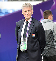 20170601 - CARDIFF , WALES : Lyon's headcoach Gerard Precheur pictured during a womensoccer match between the teams of  Olympique Lyonnais and PARIS SG, during the final of the Uefa Women Champions League 2016 - 2017 at the Cardiff City Stadium , Cardiff - Wales - United Kingdom , Thursday 1  June 2017 . PHOTO SPORTPIX.BE | DAVID CATRY