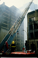Montreal (QC) CANADA - 1988 File Photo -  Montreal firemen at work