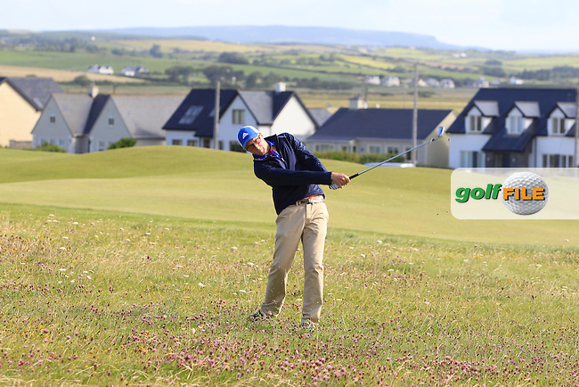 Aaron Moore (Adare Manor) on the 2nd during Round 2 of the South of Ireland Amateur Open Championship at LaHinch Golf Club on Thursday 23rd July 2015.<br /> Picture:  Golffile | Thos Caffrey
