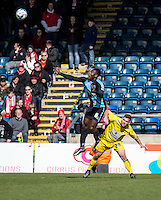 Aaron Pierre of Wycombe Wanderers during the Sky Bet League 2 match between Wycombe Wanderers and Accrington Stanley at Adams Park, High Wycombe, England on the 30th April 2016. Photo by Liam McAvoy / PRiME Media Images.