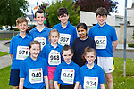 Megan Dennehy, Lauren O'Connor, Clodagh Coffey, Back row: Liam O'Sullivan, Raymond O'Neill, Amie Pidgeon, John O'Connor, Eshal Imran and Cathal Brosnan who completed the Currow Reader to 3k run on Friday