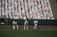 SAN FRANCISCO, CA - AUGUST 27:  Manager Gabe Kaper #19 and Mike Yastrzemski #5 of the San Francisco Giants kneel while Evan Longoria #10 stands during the National Anthem before game one of a doubleheader against the Los Angeles Dodgers at Oracle Park on Thursday, August 27, 2020 in San Francisco, California. (Photo by Brad Mangin)