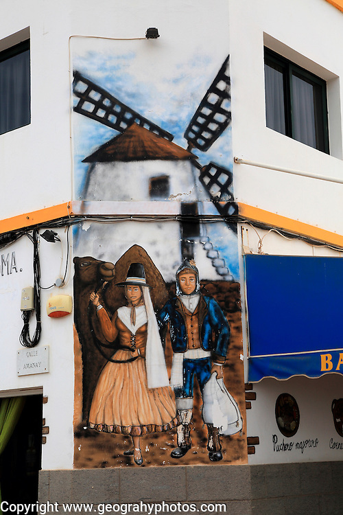 Traditional clothing windmill wall mural painting, Gran Tarajal, Fuerteventura, Canary Islands, Spain