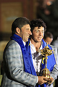 Winning European Team Captain Jose Maria Olazabal (ESP) and Rory McIlroy (NIR) after Sunday's Singles Matches of the 39th Ryder Cup at Medinah Country Club, Chicago, Illinois 30th September 2012 (Photo Colum Watts/www.golffile.ie)