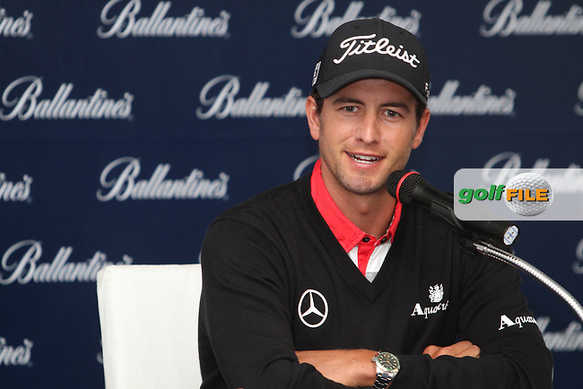 Adam Scott (AUS) in the interview room ahead of the Ballantines Championship 2012 at Blackstone Golf Course, Icheon, Korea...(Photo Jenny Matthews/www.golffile.ie)