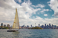 Yacht sails in Sydney Harbour, Australia