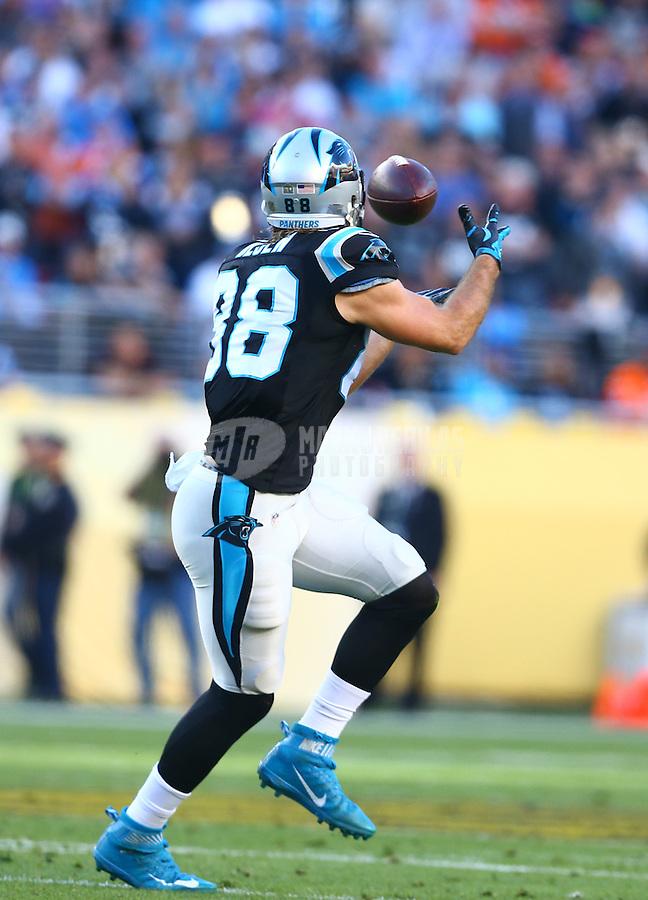 Feb 7, 2016; Santa Clara, CA, USA; Carolina Panthers tight end Greg Olsen (88) against the Denver Broncos in Super Bowl 50 at Levi's Stadium. Mandatory Credit: Mark J. Rebilas-USA TODAY Sports